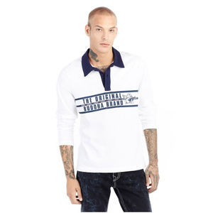 True Religion Men's Long Sleeve Rugby Polo Shirt